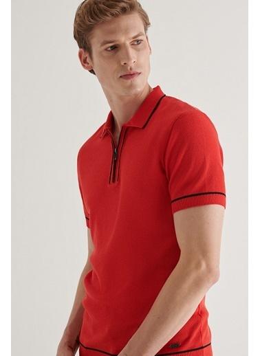 Avva Erkek  Polo Yaka Kazak A11Y5006 Kırmızı